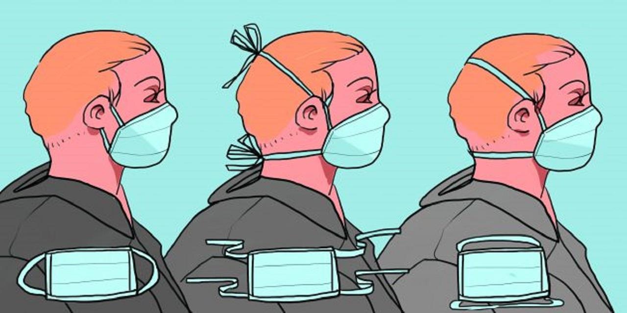 Закрепите маску на лице