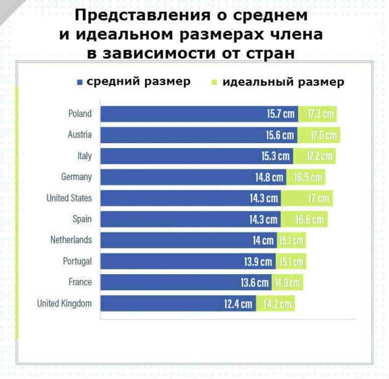 Представление о среднем и идеальном размерах члена в зависимости от стран